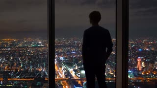 Man looking out large windows high above a sprawling city
