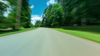 POV time-lapse from a car driving down the road
