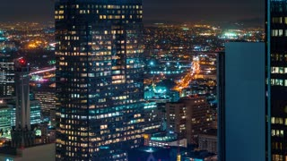Sunrise time-lapse of Downtown Los Angeles skyscrapers