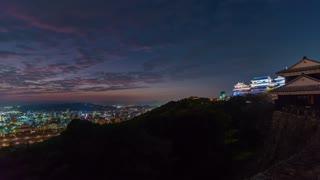Sunrise time-lapse of Matsuyama Castle, in Japan