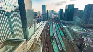 Sunset time-lapse above Tokyo Station in Japan