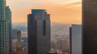 Sunset time-lapse of Downtown Los Angeles skyscrapers