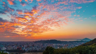 Sunset time-lapse of the Matsuyama City skyline in Japan