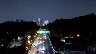 The 110 expressway heading toward downtown Los Angeles at night