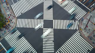 Time-lapse of a busy intersection in Ginza, Tokyo, Japan