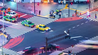 Time-lapse of a busy intersection in Shibuya, Tokyo, Japan