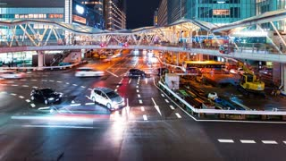 Time-lapse of a busy Osaka interection at night