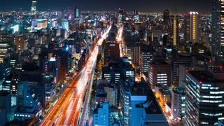 Time-lapse of a massive highway in Osaka at night