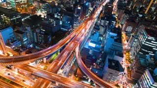 Time-lapse of a massive intersection in Osaka at night