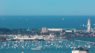 Time-lapse of boats in the Chicago Harbor on Lake Michigan