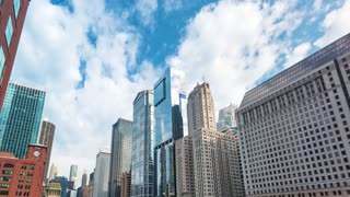 Time-lapse of Chicago skyscrapers on a summer afternoon