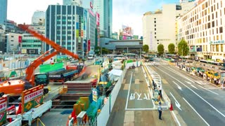 Time-lapse of construction work in Shibuya, Tokyo, Japan