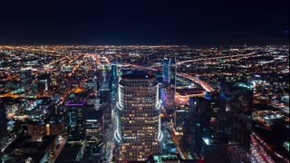 Time-lapse of Downtown Los Angeles at night from above