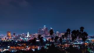 Time-lapse of Downtown Los Angeles cityscape with palm trees in the foreground