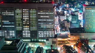 Time-lapse of elevators and traffic in Shibuya, Tokyo