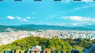 Time lapse of from the ancient samurai castle in Matsuyama, Japan