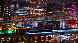 Time-lapse of Odaiba, Tokyo at night with ferris wheel