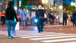 Time lapse of of a busy intersection in Matsuyama, Japan
