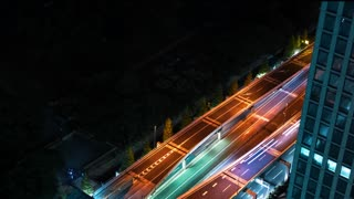 Time-lapse of of a highway Tokyo at night