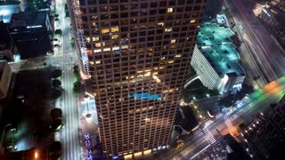 Time-lapse of of traffic in Downtown Los Angeles at night