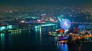 Time-lapse of Osaka Bay at night
