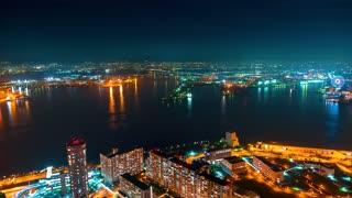 Time-lapse of Osaka Bay at night