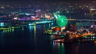 Time-lapse of Osaka City and Osaka Bay at night