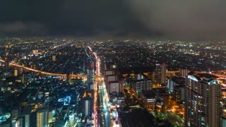 Time-lapse of Osaka from above during a rain storm