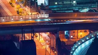 Time-lapse of Osaka highway bridge at night
