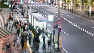 Time-lapse of people and traffic outside Tokyo's World Trade Center