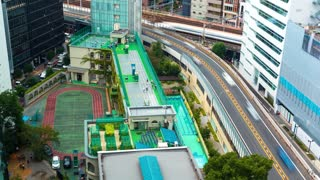 Time-lapse of school students playing at recess time in Tokyo, Japan