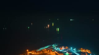 Time-lapse of ships in Osaka Bay at night