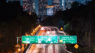 Time-lapse of the 110 expressway headed toward Downtown Los Angeles at night