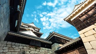 Time lapse of the ancient samurai castle in Matsuyama, Japan