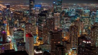 Time-lapse of the Chicago cityscape at night from high above