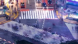 Time-lapse of the famous scramble intersection in Shibuya, Tokyo, Japan