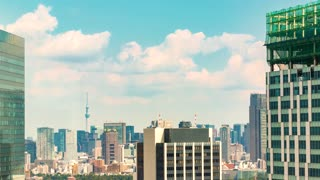Time-lapse of the skyline of Sumida, Tokyo, with a view of the Skytree