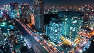 Time-lapse of Tokyo at night near Hamamatsuchō
