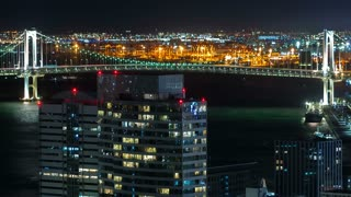 Time-lapse of Tokyo Bay at night