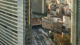 Time-lapse of Tokyo skyline and skyscrapers in Higashishinbashi