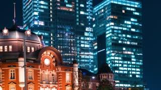 Time-lapse of Tokyo Station in Marunouchi, Tokyo, Japan at night