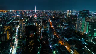 Time-lapse of Tokyo Tower in Minato, Tokyo, Japan