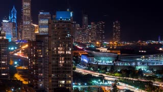 Time-lapse of traffic moving through Chicago at night