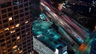 Time-lapse traffic in Downtown Los Angeles at night