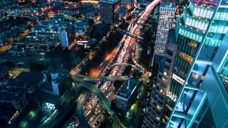 Time-lapse traffic on the 110 Downtown Los Angeles highway at night
