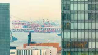 Timelapse of boats in Tokyo bay with the Rainbow bridge in the background