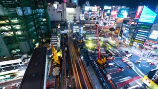 TOKYO, JAPAN - SEP, 25 2017: Time-lapse of a busy intersection in Shibuya, Tokyo, Japan