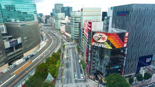 TOKYO, JAPAN - SEP, 25 2017: Time-lapse of busy roads and bridges in Ginza, Tokyo, Japan