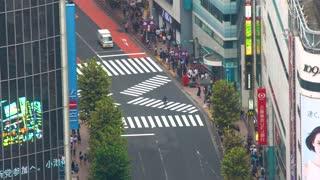 TOKYO, JAPAN - SEP, 25 2017: Traffic and people pass through Shibuya, Tokyo, Japan