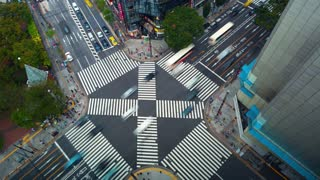 TOKYO, JAPAN - SEP, 26 2017: Time-lapse of a busy intersection in Ginza, Tokyo, Japan